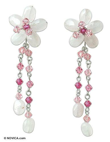 Rose quartz flower earrings, 'Sweet Eternal' - Floral Beaded Rose Quartz Earrings from Thailand
