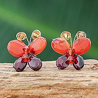 Garnet and carnelian button earrings, 'Exotic Butterfly'