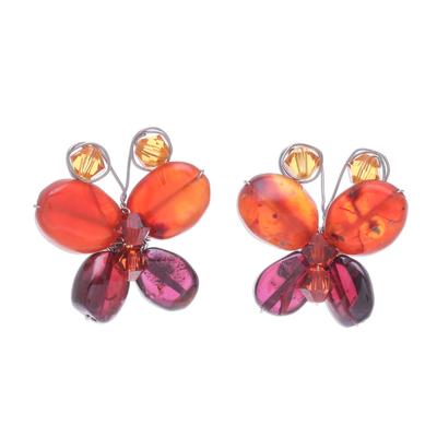 Garnet and Carnelian Button Earrings