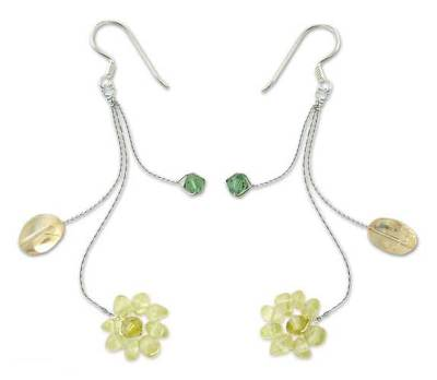 Peridot and citrine dangle earrings, 'Comet' - Floral Peridot and Citrine Earrings