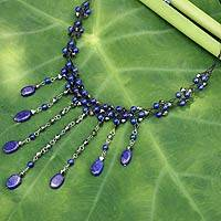 Lapis lazuli choker, 'Rain Shower' - Hand Crafted Necklace Adorned with Lapis Lazuli