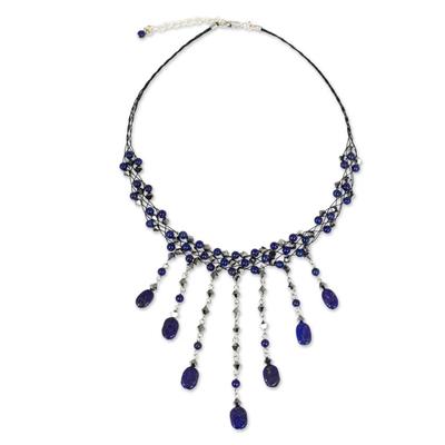 Lapis lazuli choker, 'Rain Shower' - Hand Made Lapis Lazuli Waterfall Necklace
