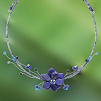 Lapis lazuli choker, 'Blue Bouquet' - Hand Made Floral Lapis Lazuli Choker