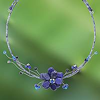 Lapis lazuli choker, 'Blue Bouquet'