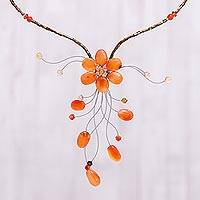Carnelian and citrine flower necklace, 'Ginger Forest' - Carnelian and citrine flower necklace