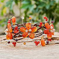 Carnelian and garnet wrap bracelet, 'Bright Garland' - Floral Beaded Carnelian Bracelet