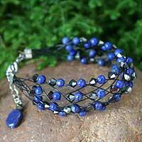 Lapis lazuli wristband bracelet, 'Deep Blue Fishnet' - Unique Beaded Lapis Lazuli Bracelet