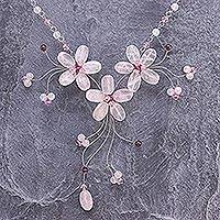 Rose quartz and garnet choker, 'Floral Cascade' - Handcrafted Floral Beaded Rose Quartz Necklace