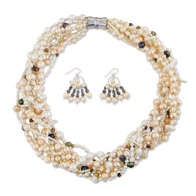 Pearl jewelry set, 'Spirit of Spring' - Hand Made Pearl Earrings and Necklace Jewelry Set