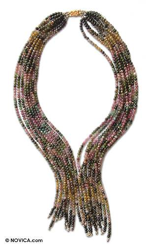 Jade and tourmaline beaded necklace, 'Prism' - Jade and tourmaline beaded necklace
