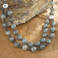Labradorite strand necklace, 'Mars and Venus' - Beaded Garnet and Labradorite Necklace