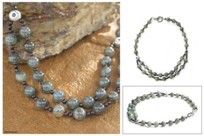 Labradorite strand necklace, 'Mars and Venus' - Hand Made Beaded Labradorite Necklace