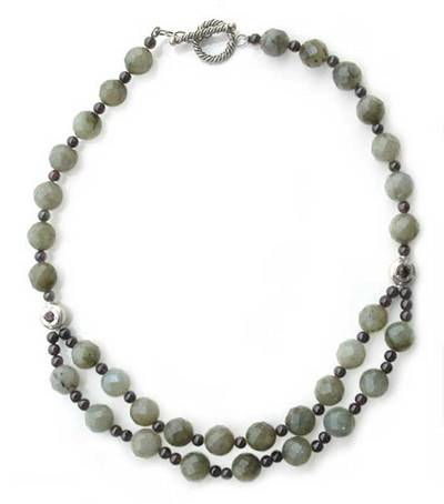 Labradorite strand necklace, 'Mars and Venus' - Hand Made Beaded Labradorite Necklace