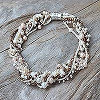 Pearl torsade necklace, 'Sunset Sea' - Pearl torsade necklace
