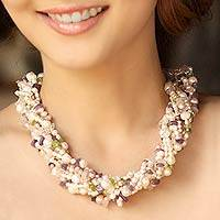 Pearl and amethyst torsade necklace, 'Pastel Petals' - Pearl and Amethyst Torsade Necklace from Thailand