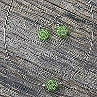 Peridot jewelry set, 'Sweet Green Grapes' - Handcrafted Peridot and Silver Necklace and Earring Set