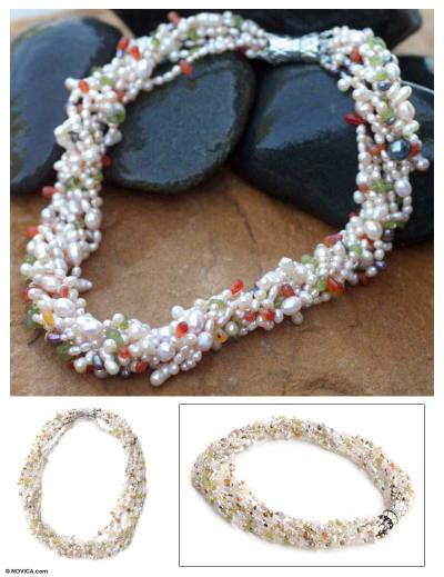 Pearl and rose quartz torsade necklace, Spring Flowers