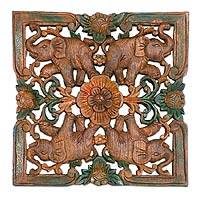 Teak relief panel, 'Petals & Pachyderms' - Teak relief panel
