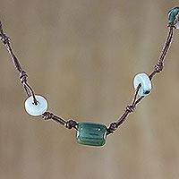 Jade beaded necklace, 'Harmonious Life'