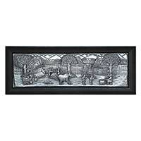 Aluminum repousse panel, 'The Farmer's Friend' - Aluminum repousse panel