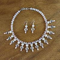 Pearl and quartz jewelry set, 'Nymph's Heart' - Pearl and quartz jewellery set