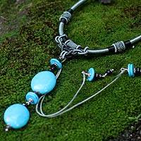 Turquoise pendant necklace, 'Royal Sky' - Fair Trade Turquoise and Tourmaline Necklace