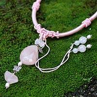 Rose quartz and pearl pendant necklace, 'Sweetheart' - Rose quartz and pearl pendant necklace