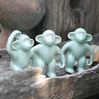 Celadon ceramic statuettes, 'Chimps Hang Out' (set of 3) - Fair Trade Celadon Ceramic Monkey Sculptures (Set of 3)