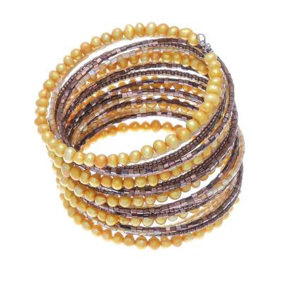 Pearl beaded bracelet, 'Golden Luxuries' - Unique Beaded Pearl Bracelet