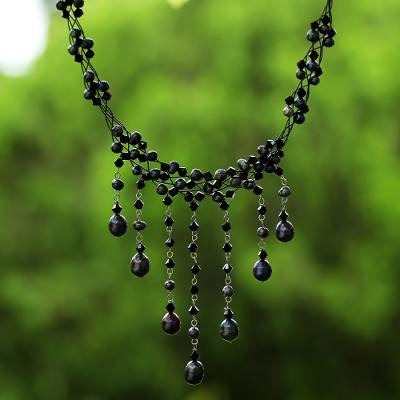 Cultured pearl choker, 'Black Rain Shower' - Thai Pearl Waterfall Necklace