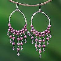 Pearl chandelier earrings, 'Harmony of Purple' - Pearl chandelier earrings