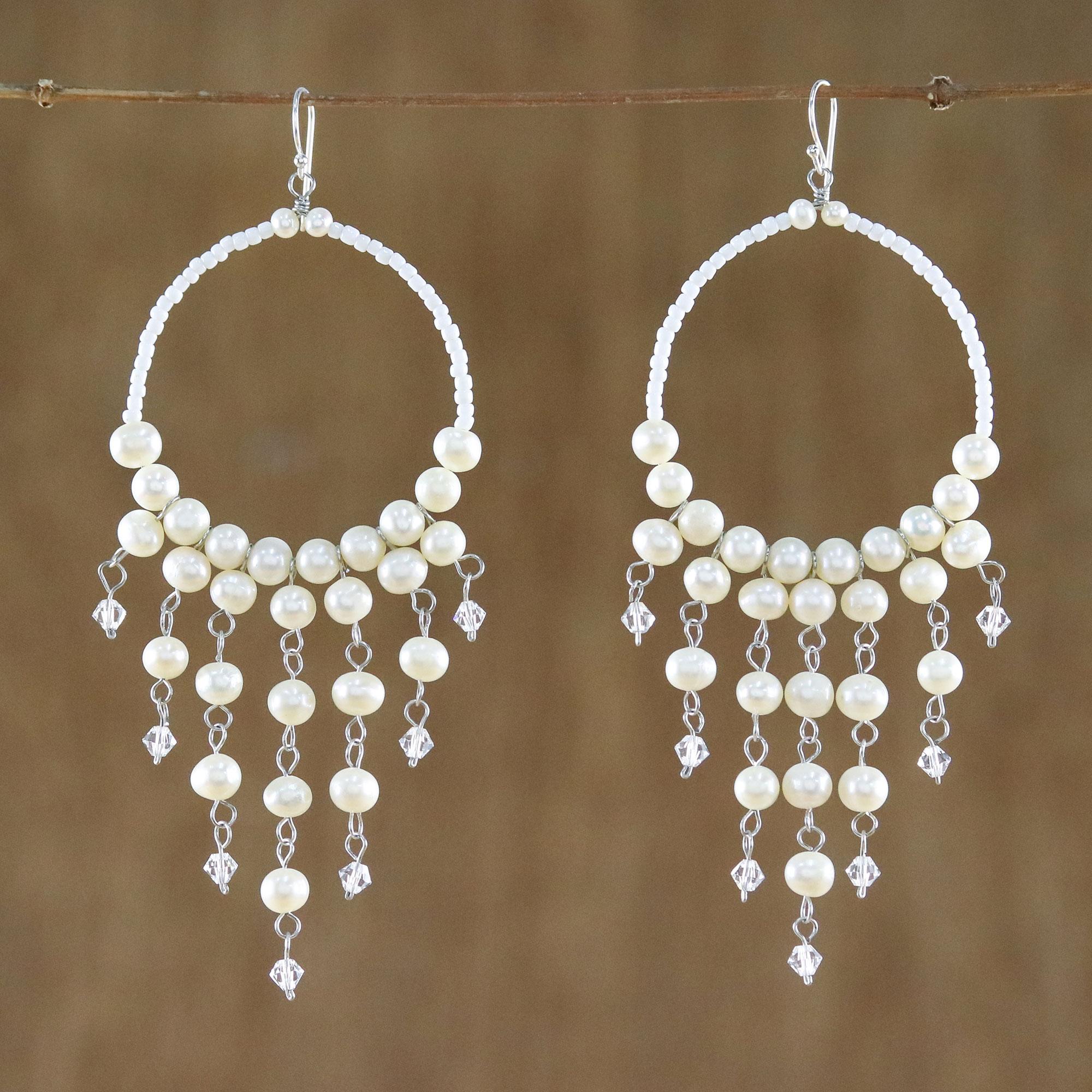 Handmade Pearl Chandelier Earrings Harmony Of White Novica