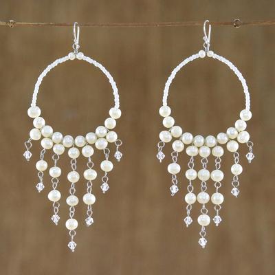 Pearl chandelier earrings, 'Harmony of White' - Handmade Pearl Chandelier Earrings