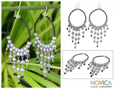 Cultured pearl chandelier earrings, 'Harmony of Black' - Pearl Chandelier Earrings