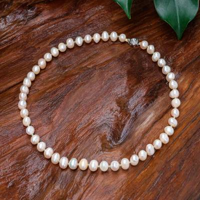 Pearl and peridot strand necklace, 'Pink Sea Breath' - Handcrafted Bridal Pearl Strand Necklace