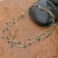 Beaded necklace, 'Ethereal Grace' - Beaded Necklace with Turquoise Colored Stones