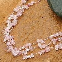 Pearl and rose quartz strand necklace, 'Natural Spectacular' - Rose Quartz and Pearl Beaded Necklace