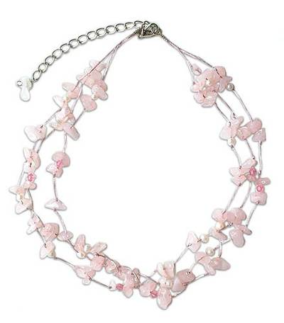 Rose Quartz and Pearl Beaded Necklace