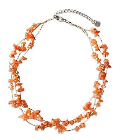 Artisan Crafted Beaded Carnelian Necklace