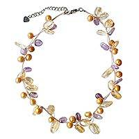 Pearl and amethyst strand necklace, 'Ethereal' - Beaded Amethyst and Pearl Necklace