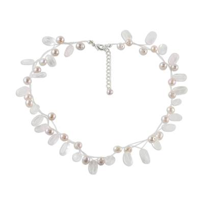 Pearl and rose quartz choker, 'Ethereal' - Pearl and rose quartz choker