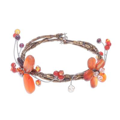Hand Crafted Floral Carnelian Beaded Bracelet