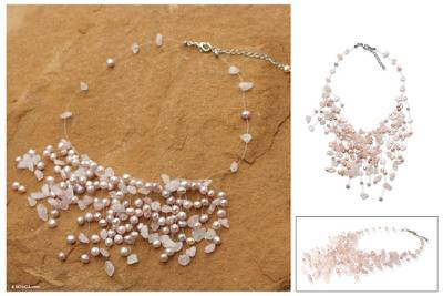 Pearl and rose quartz beaded necklace, 'Cloudfall' - Pearl and rose quartz beaded necklace