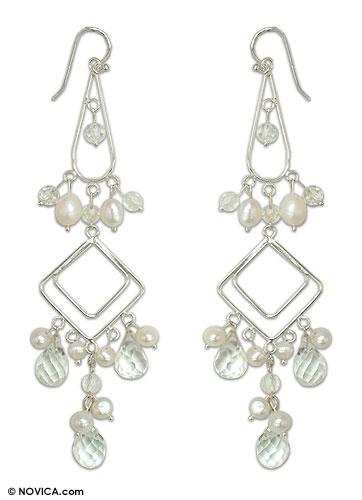Pearl chandelier earrings, 'Delight' - Pearl chandelier earrings