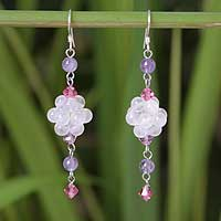 Rose quartz and amethyst dangle earrings, 'Enchanted Bloom' - Handcrafted Sterling and Rose Quartz Cluster Dangle Earrings