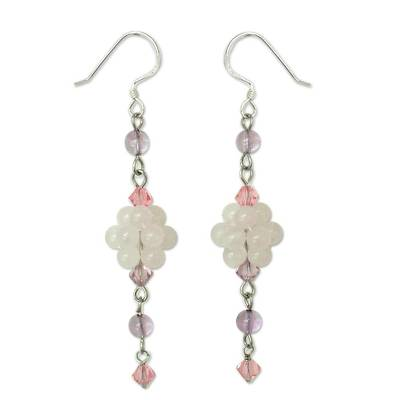 Sterling Silver Beaded Rose Quartz Earrings