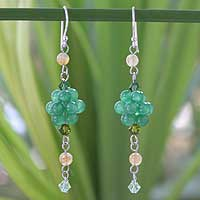 Citrine cluster earrings, 'Enchanted Bloom' - Citrine and Quartz Beaded Earrings
