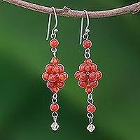 Carnelian cluster earrings, 'Enchanted Bloom' - Carnelian cluster earrings