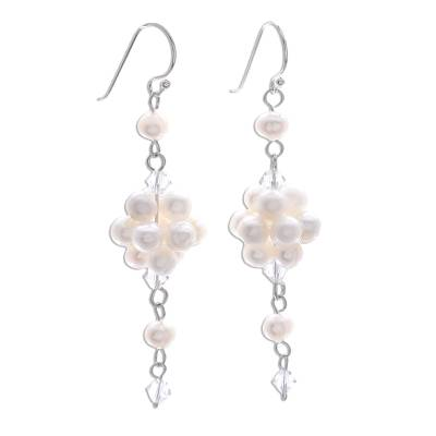 Pearl cluster earrings, 'Enchanted Bloom' - Bridal Sterling Silver and Pearl Dangle Earrings