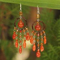 Carnelian chandelier earrings, 'Golden Dreamcatcher'